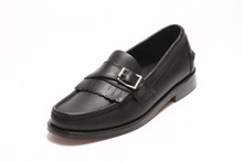 Men's Handsewn Buckle Kilt Loafer, with Black Leather Outsole, Black