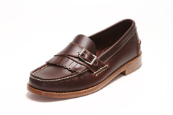 Men's Handsewn Buckle Kilt Loafer, with Natural Leather Outsole, Dark Brown