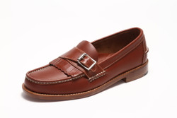 Men's Handsewn Buckle Kilt Loafer,  with Natural Leather Outsole, Brown
