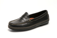 Women's handsewn Penny Driver Loafer in Black leather.