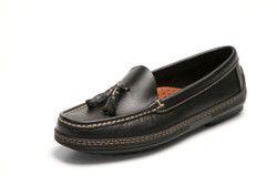 Women's handsewn Tassel Driver Loafer in Black leather.