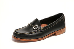 Women's handsewn Bit Loafer in Black Leather with Natural Leather Outsole.