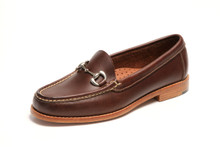 Women's handsewn Bit Loafer in Dark Brown Leather with Natural Leather Outsole.