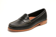 Women's handsewn Penny Loafer in Black Leather with Natural Leather Outsole.