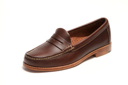 Women's handsewn Penny Loafer in Dark Brown Leather with Natural Leather Outsole.