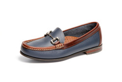 Women's Bit Comfort Loafer (Blue-Brown Leather)