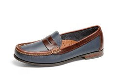 Women's Penny Comfort Loafer (Blue-Brown Leather)