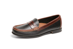 Women's Penny Comfort Loafer (Black-Brown Leather)