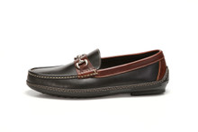 Side view, men's handsewn Bit Driver in black/brown leather.