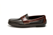 Side view, men's handsewn Penny Driver Loafer in black/brown leather.