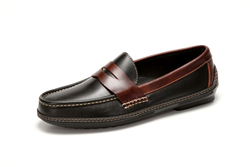 Men's handsewn Penny Driver Loafer in black/brown leather.