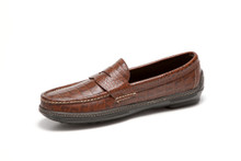 Men's handsewn Penny Driver in croco leather.