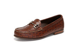 Women's handsewn bit comfort loafer in croco.