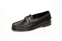 Men's Handsewn Bit Stripe Loafer in black leather