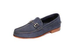 Men's Bit Loafer (Nubuk Navy) with Full Leather Heel & Outsole, with Silver Bit - angle view