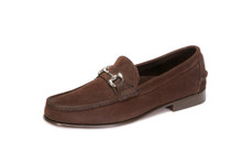 Men's Nubuk Dark Brown Bit Loafer with Full Leather Outsole & Heel, with Silver Bit - angle view
