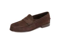 Men's Nubuk Dark Brown Penny Loafer with Full Leather Outsole & Heel - angle view