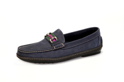 Men's Bit Stripe Driver Moc in Nubuk Navy with Silver Bit - angle view