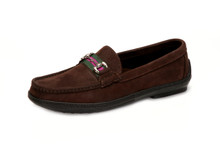 Men's Bit Stripe Driver Moc in Nubuk Dark Brown, with Silver Bit - angle view