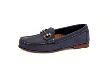 Women's Comfort Bit Loafer with Silver Bit in Nubuk Navy - angle view