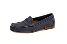 Women's Comfort Penny Loafer in Nubuk Navy - angle view