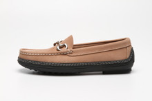 Side view, women's handsewn Bit Driver Loafer in beige Nubuck leather.