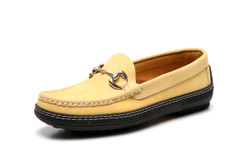 Women's handsewn Bit Driver Loafer in yellow Nubuck leather.