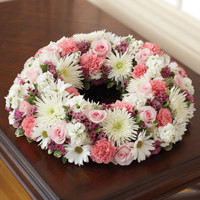 Pink & White Cremation Wreath