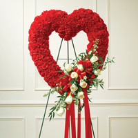 Red & White Standing Open Heart-Red Carnations - White Roses