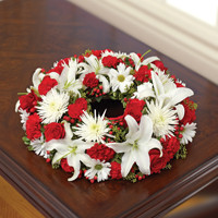 Red & White Cremation Wreath