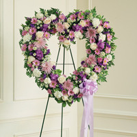 Lavender & White Standing Open Heart