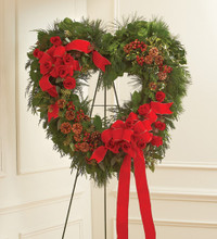 Sympathy Staning Open Heart in Christmas Colors