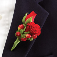 All Red Ring Bearer Boutonniere