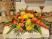 Fall Multi-Colored Farewell 1/2 Casket Spray