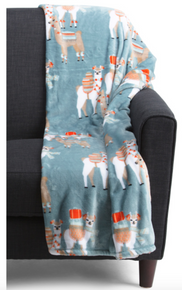 Plush Throw Llama Oversized