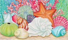 Welcome Mat Coral Coastal Shells
