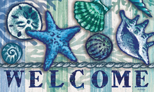 Welcome Mat Blue Seashells