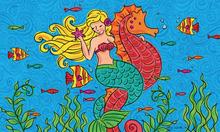 Welcome Mat Mermaid Seahorse