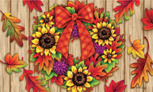 Welcome Mat Sunflower Wreath