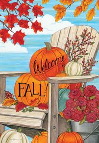 Garden Flag Fall Adirondack & Pumpkins