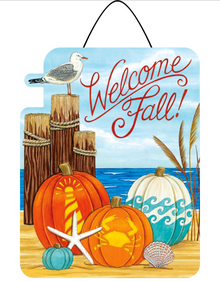 Hanging Sign Coastal Pumpkins