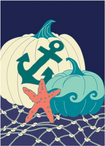Garden Flag Coastal Applique Pumpkins