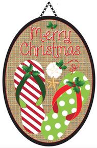 Door Banner Burlap Christmas Flip Flops