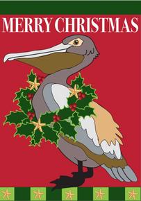 Garden Flag Christmas Pelican