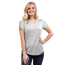 Simply Southern Knot Sleeve Top Heather Gray