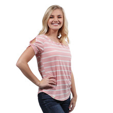 Simply Southern Knot Sleeve Top Pink Stripe