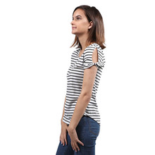 Simply Southern Knot Sleeve Top Black & White Stripe