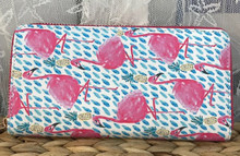Zip-Around Wallet Flamingo Pineapples