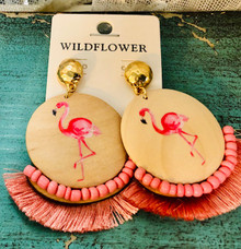 Flamingo Fringe Earrings