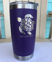 Custom Yeti 20oz Purple Tumbler with Sea Turtle